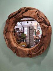 Naturelkleurige Bij Mies Spiegel Teak Rond Big 80cm