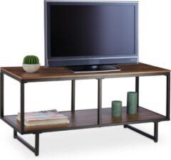 Bruine Relaxdays TV meubel - televisietafel - houtlook - TV kastje - metalen onderstel - melamine