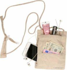 Creme witte Merkloos / Sans marque Handige halstas / nektasje voor wandelaars en fietsers 20 cm - reistasje
