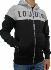 Loud and Clear LOUDER Winter Hoodie Heren Zwart Grijs - Sweater Heren - Winter Vest Heren - Trui Heren - Met Rits - Met Capuchon - Maat XXL