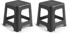 Forte Plastics Set van 2x stuks rotan opstapje/krukje in het zwart - 32 x 32 x 30 cm - Keuken/badkamer/slaapkamer handige krukjes/opstapjes