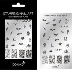 Grijze Veronica Nail Products Veronica NAIL-PRODUCTS KONAD Square plate 07 met 28 ' TRIBAL FLAME ' stamping nail art.