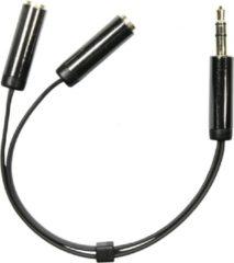 Deltaco AUD-200 3.5 mm audio splitter zwart - 1 x 3.5 mm mini-jack pin naar 2 x stereo 3.5 mm min-jack uit