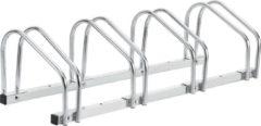 Zilveren Neu.haus Fietsenrek voor 4 fietsen 99x33x26 cm gegalvaniseerd staal