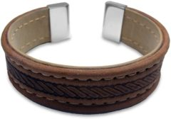 CO88 Collection 8CB-19003 - Lederen bangle met staal elementen - touw patroon - one-size - bruin / taupe / zilverkleurig