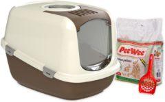 PeeWee XXL kattenbak EcoDome Startpakket Bruin/Ivoor - 66,5 x 48,5 x 46,5 cm