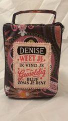 History&heraldy Shopper bag dames met leuke tekst DENISE WEET JE IK VIND JE GEWELDIG BLIJF ZOALS JE BENT winkeltasje Wordt geleverd in cellofaan met linten