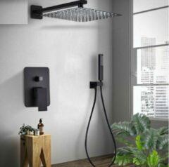 Merkloos / Sans marque Productgigant - Doucheset met vierkante regendouchekop -25cm - Geborsteld zwart/brons