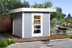 Blokhut Lounge 1 Gr. 2 280 x 375cm lichtgrijs/wit