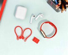 COTEetCi 2 in 1 Oorhaakjes en polspassing voor Apple AirPods & iWatch - Earhooks - Rood