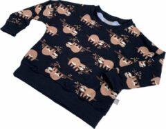 Tinymoon Unisex Sweater – model batwing – Lazy Luiaard – Zwart – Maat 98/104