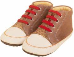 Zandkleurige Dulis babyslofjes sneaker bootie nude red