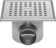 Easy Drain Aqua Plus quattro vloerput met rvs afwerkdeel met rvs rooster met rvs sifonhuis en zijuitlaat 15x15cm inbouwdiepte 74mm waterslot 30mm aqua+15x15-ft30