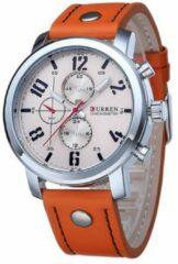 Hidzo Horloge Curren ø 37 mm - Bruin/Creme - Inclusief horlogedoosje