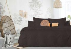 Bruine Elegance Dekbedovertrek - 200x200/220 - Uni Percal katoen - Met Bies - brown