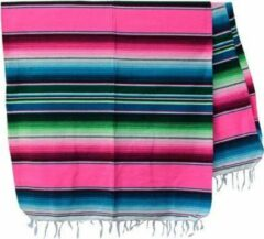 Handgeweven uit Mexico Mexicaanse Deken - Plaid - Serape - Gerecycled Acryl - 210 x 150 - Roze - BBXZZ0hotpink