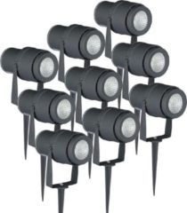 Antraciet-grijze INTOLED Set van 9 LED aluminium prikspots 12 Watt 3000K IP65 Antraciet