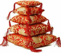 Yogi & Yogini Klankschaalkussen rood met bloemmotief - 12x12x4 cm (2 stuks) - M