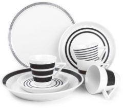 Witte Salt&Pepper Stripes Servies - 20 delig - Zwart