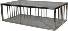 Dynamic24 Badly Bitten Sofatisch Highgate 130x70 Wohnzimmer Couchtisch Glas Tisch verchromt