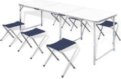 Witte VidaXL Campingtafel inklapbaar en verstelbaar in hoogte aluminium 180 x 60 cm incl. zes stoelen