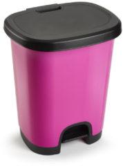 Forte Plastics Kunststof afvalemmers/vuilnisemmers/pedaalemmers in het fuchsia roze/zwart van 27 liter met deksel en pedaal. 38 x 32 x 45 cm.
