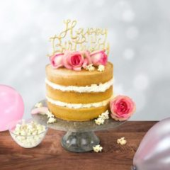 Creme witte PME Cake Topper Cutter Happy Birthday - Script