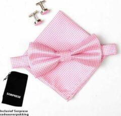 Vlinderstrik inclusief pochette en manchetknopen - Roze - kleine ruit - Sorprese - luxe - vlinderdas - strik - strikje - pochet - heren