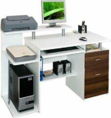 Bruine Hjh office Stella - Bureau - Computertafel - Wit / walnoot