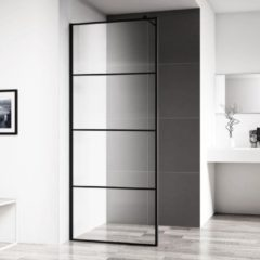 Inloopdouche Horizon 90x200 cm Inclusief Mat Zwart Raster en NANO Glas