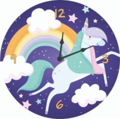 Merkloos / Sans marque Kinderklok eenhoorn/unicorn, regenboog, wolkjes donkerblauw | STIL UURWERK | wandklok van hout voor kinderkamer en babykamer | decoratie accessoires | meisjes slaapkamer