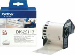 Brother DK-22113 Rol met etiketten 62 mm x 15.24 m Folie Transparant 1 stuk(s) Permanent DK22113 Universele etiketten