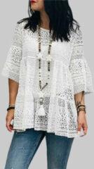 Newchic Lace Crochet Ruffle Half Sleeve Plus Size Blouse