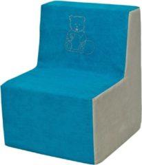 Go Go Momi Zachte foam stoel, borduurwerk, kinderen, comfortabel, zetel, kinderdagverblijf, Kids meubels, spelen, ontspannen - blauw en beige