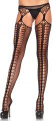 Zwarte EDC gecensureerd Leg Avenue Panty met Jarretel Look - zwart - one size