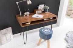 Wohnling Schreibtisch BAGLI braun 110 x 60 x 76 cm Massiv Holz Laptoptisch Sheesham Natur Landhaus-Stil Arbeitstisch mit 1 Ablage-fach Bürotisch PC