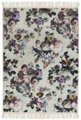 Zandkleurige Essenza Fleur vloerkleed met bloemenprint 60 x 90 cm