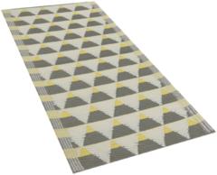 Beliani Buiten-vloerkleed driehoek patroon grijs/geel 60 x 105 cm. HISAR