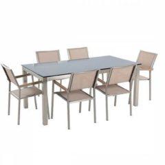 Beliani Tuinmeubel set zwart glasplaat 180 x 90 cm 6 stoelen met gespannen textiel beige GROSSETO