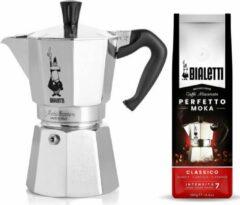Zilveren Bialetti Moka Express 6 kops + Bialetti Classico gemalen koffie 250gr