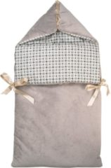 Grijze Bubaba Nanny Blanket 2 in 1 wikkeldeken Grey Dots (0-6mnd)