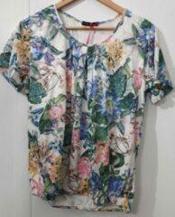 Merkloos / Sans marque Pink Lady dames blouse KM groen/roze/blauw - maat M (38)