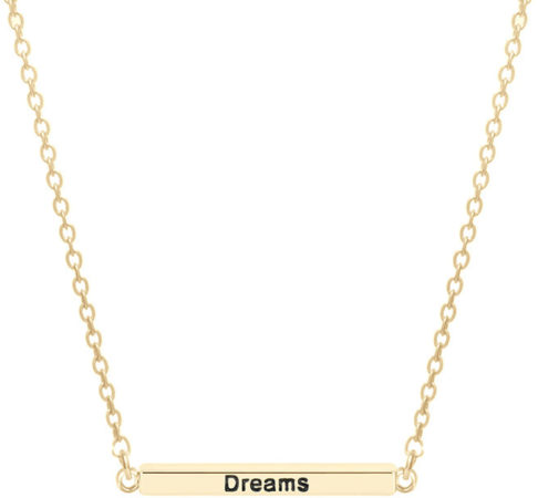 Afbeelding van CO88 Collection Inspirational 8CN 20008 Stalen Collier met Hanger - Staaf met Tekst 'Dream, Love, Laugh, Enjoy the Little Things' 30 mm - Lengte 40 + 3 cm - Goudkleurig