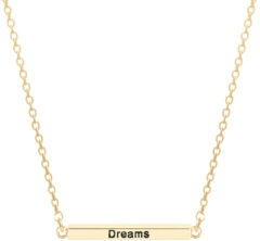 CO88 Collection Inspirational 8CN 20008 Stalen Collier met Hanger - Staaf met Tekst 'Dream, Love, Laugh, Enjoy the Little Things' 30 mm - Lengte 40 + 3 cm - Goudkleurig