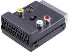 Y-adapter SCART / Cinch / S-Video [1x SCART-stekker - 3x Cinch-koppeling, SCART-bus, S-video bus] Zwart Met omschakelaar SpeaKa Professional