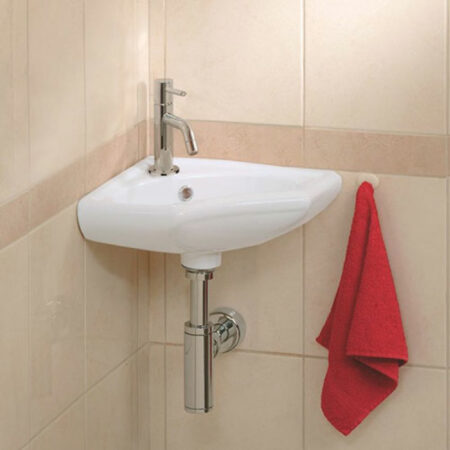 Afbeelding van Douche Concurrent Fonteinset Trevi Kwartrond Hoek 35x35x15cm Keramiek Glans Wit Chroom Toiletkraan Sifon Plug Bevestigingsset