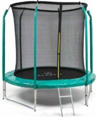 Klarfit Jumpstarter trampoline 2,5m Ø net 120kg max. donkergroen