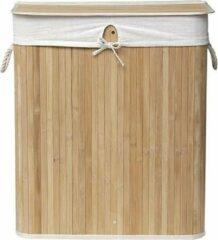 Bruine Gebor Rechthoekige Opvouwbare Bamboe Wasmand met 2 compartimenten - Bamboe/Linnen binnenafwerking - Bamboe - 63x52x32cm hxbxl - Opbergmand - Wasmand - Laundry Basket