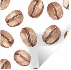 StickerSnake Muursticker Aquarel Patronen - Aquarel illustratie van een patroon met koffiebonen - 30x30 cm - zelfklevend plakfolie - herpositioneerbare muur sticker