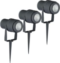 INTOLED Set van 3 LED aluminium prikspots 12 Watt 3000K IP65 Grijs